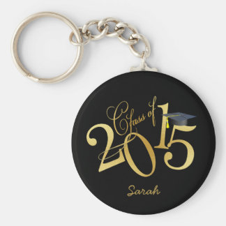 Custom Funky Black and Gold Class of 2015 Basic Round Button Key Ring