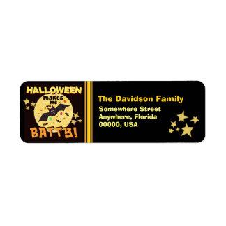 Custom Funny Halloween Bat Return Address Labels