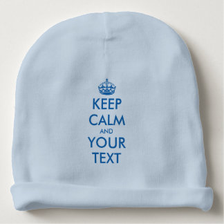 Custom funny keep calm blue baby hat for boys baby beanie