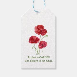 Custom Garden Quote Red Poppy Watercolor Art