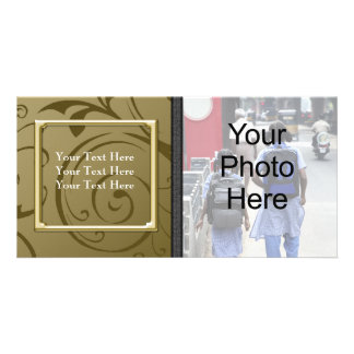Custom General or Family Gold Swirl Photo Card