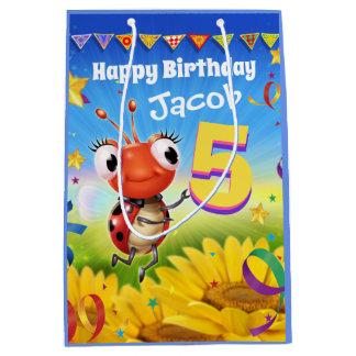 Custom Gift Bag for boy's 5th birthday - Ladybug