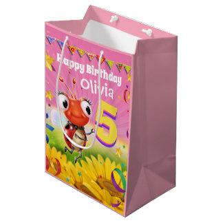 Custom Gift Bag for girl's 5th birthday - Ladybug