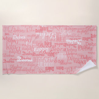custom girl color names, personalized pink beach towel