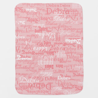 custom girl color names, personalized pink pram blanket