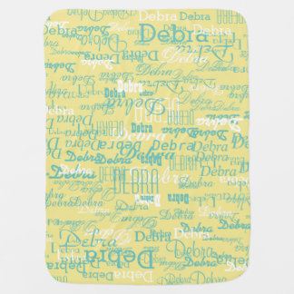 custom girl color names, personalized yellow baby blanket