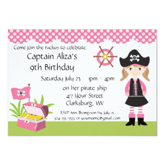 Custom Girl Pirate Birthday Party Card