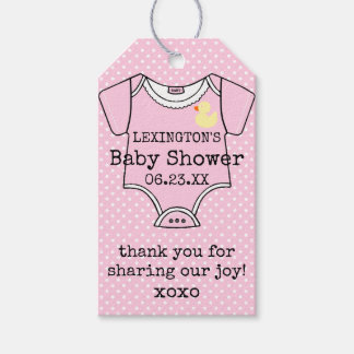 Custom Girls Baby Shower Thank You With Footprints Gift Tags