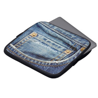 Custom girls name denim blue jeans laptop sleeve