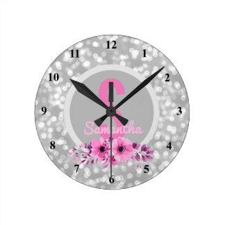 Custom Girls Name Girly Silver Bokeh Pink Flowers Round Clock