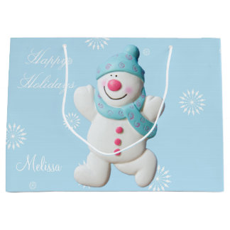 Custom girls name Happy Snowman cute holiday Large Gift Bag
