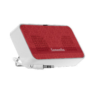 Custom girls name red, stylish damask speakers