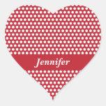 Custom girls name red & white polka dots stickers