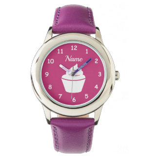 Custom girl's watch with cute pink cupcake design
