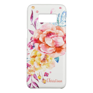Custom Girly Chic Coral Pretty Watercolor Floral Case-Mate Samsung Galaxy S8 Case