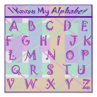 Custom Girly Pastel Alphabet Poster