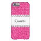 Custom Girly Pink Glitter Sparkles iPhone 6 Case