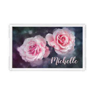 Custom Girly Pink Roses Floral Photo Acrylic Tray