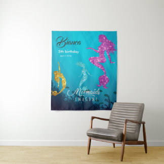 Custom Glittery Mermaid Birthday Backdrop Tapestry