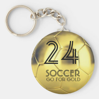 Custom Go for Gold Soccer Ball Waterproof Keychain