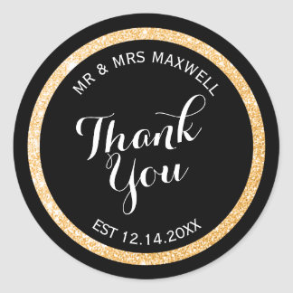 Custom Gold and Black Glitter Thank You Round Sticker
