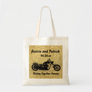 Custom Gold & Black Wedding Motorcycle Tote Bag
