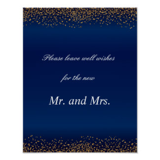 Custom - Gold Confetti & Navy Blue Well Wishes Poster