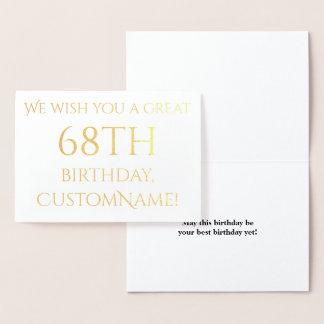 Custom Gold Foil 68th Birthday Greeting Card