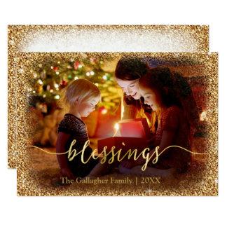 Custom Gold Glitter Blessings Photo Christmas Card