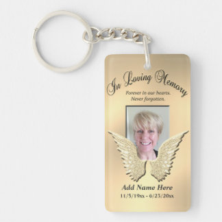 Custom Gold Memorial Angel Wings Add Photo Double-Sided Rectangular Acrylic Key Ring