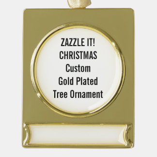 Custom Gold Plated Christmas Tree Ornament Gold Plated Banner Ornament