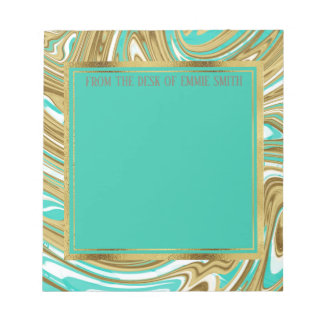 Custom Gold Teal White Marble and Gold Notepad