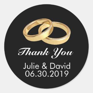 Custom Gold Wedding Rings Thank You Classic Round Sticker