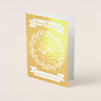 Custom Gold Wreath Mittens Christmas Card