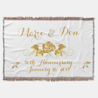 Custom Golden Anniversary Throw Blanket
