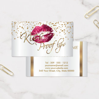 Custom - Golden Confetti & Hot Pink Lips 2 Business Card