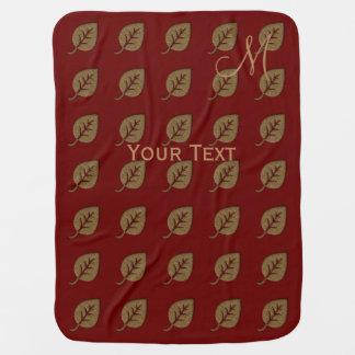 Custom Golden Leaf Pattern Red Monogram Buggy Blanket
