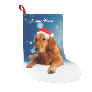 Custom Golden Retriever Dog Snow Stars Blue sky Small Christmas Stocking