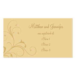 Custom Golden Yellow Wedding Gift Registry Cards Business Card Template