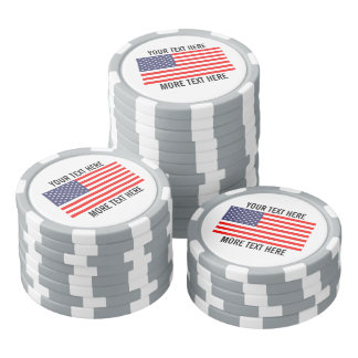 Custom golf ball markers - patriotic american flag poker chips