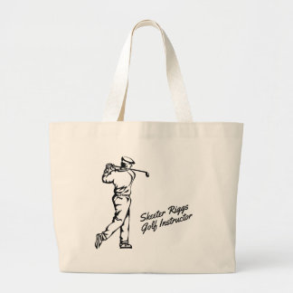 Custom Golf  with Script Large Tote Bag