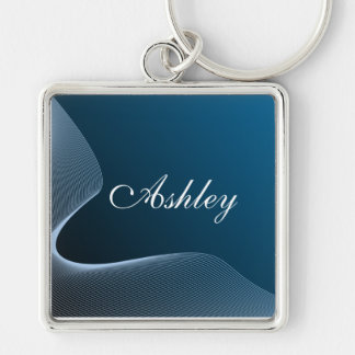 Custom gradient blue and curve key ring