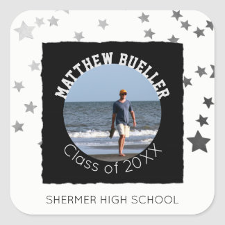Custom Graduation Photo | Name Class of Year Stars Square Sticker