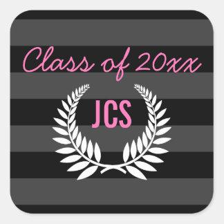 Custom Graduation Postage, Black and Pink Monogram Square Sticker