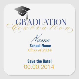 Custom Graduation Save the Date Stickers! Square Sticker