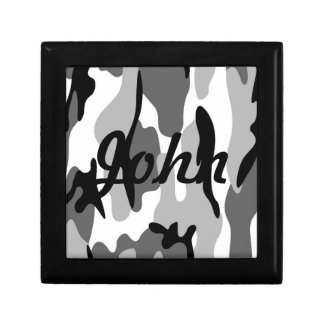Custom Gray And Black Camouflage Gift Box