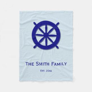 Custom Gray and Blue Nautical Ship's Wheel Blanket