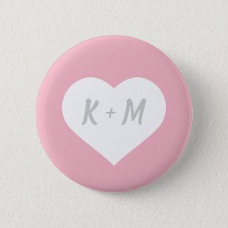 Custom Gray Initials in White Heart w/ Pink BG 6 Cm Round Badge