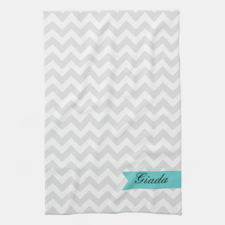 Custom Gray ZigZag Kitchen Towel