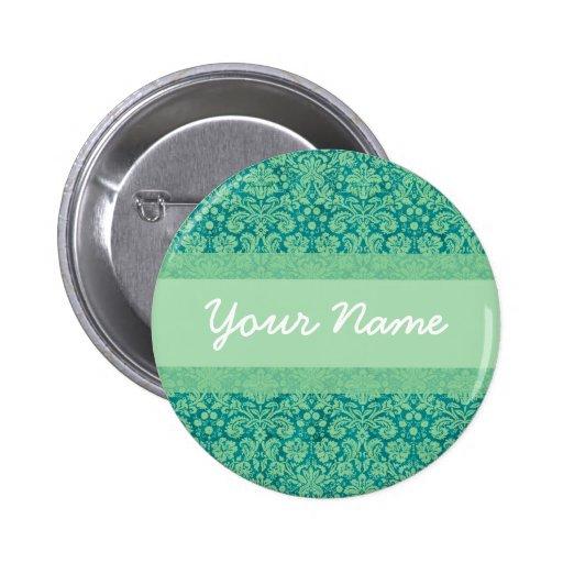 Custom Green Damask Buttons